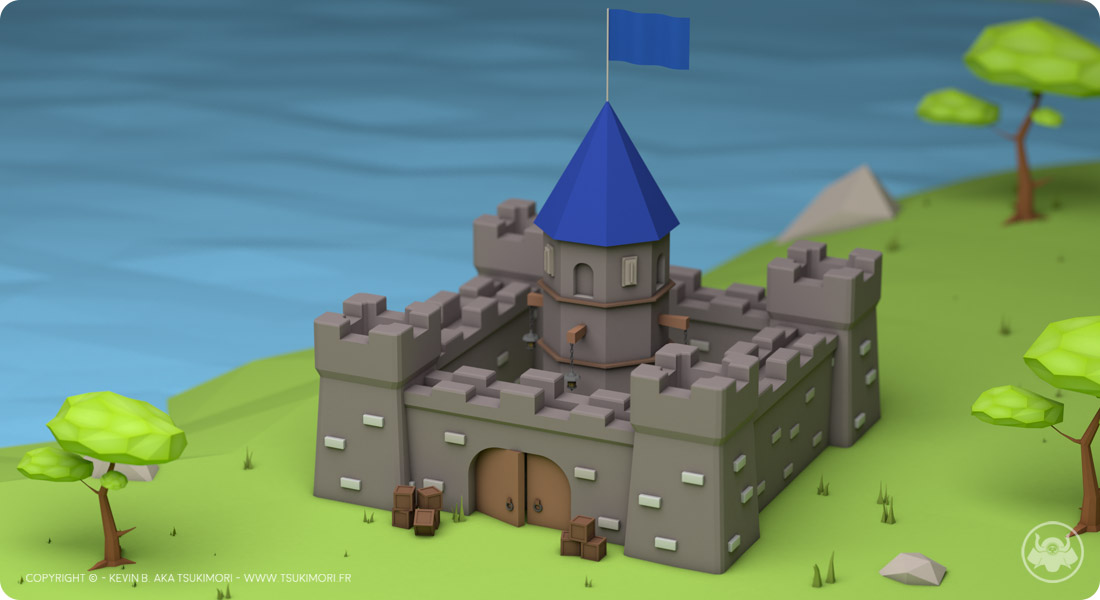 Castle and Tree in Low Poly