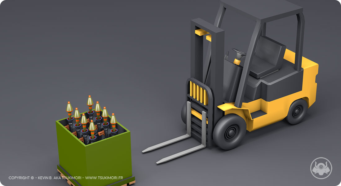 Forklift and Rocket launcher with Cinema 4D