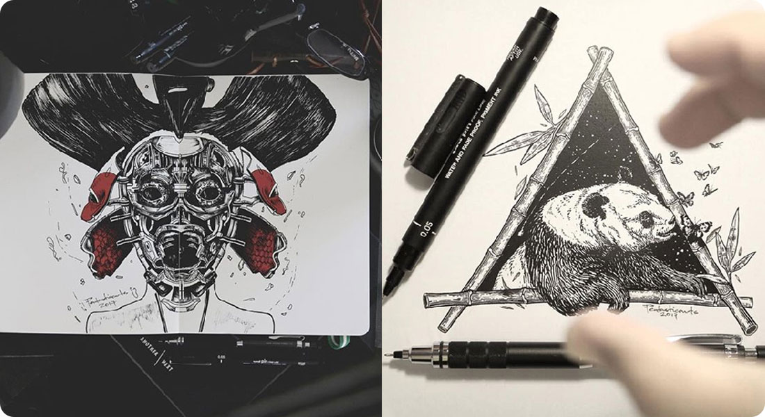 Discover the ink illustrations by Joseph Catimbang