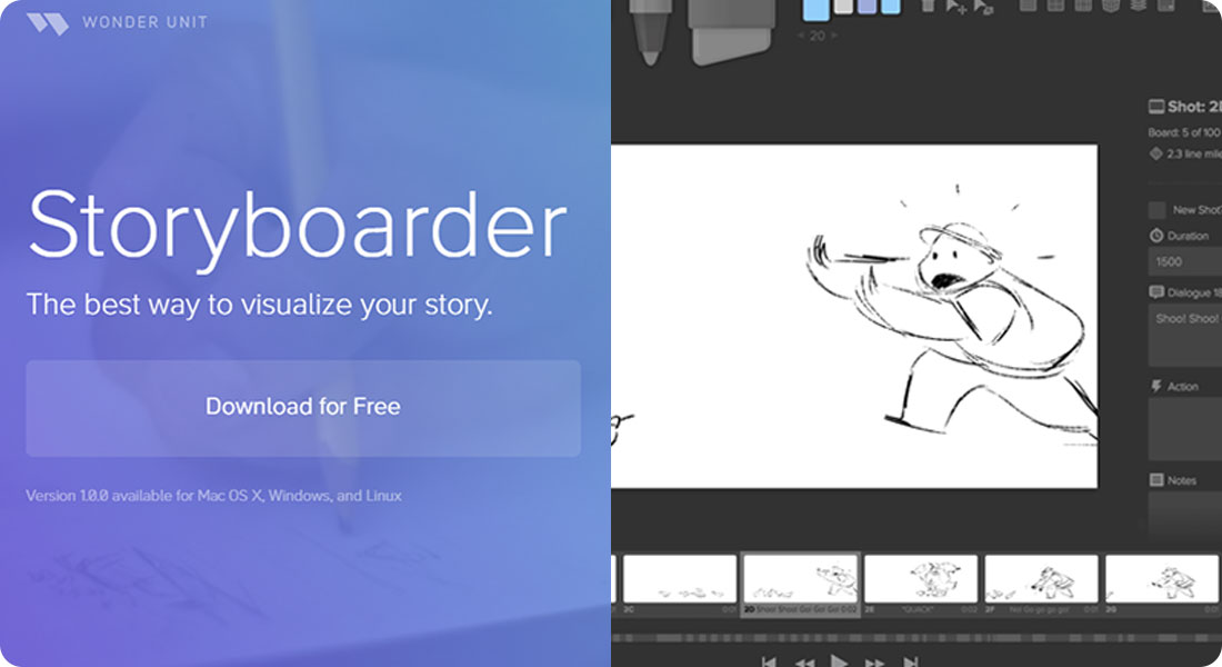 Create storyboards thanks to Storyboarder - Sketchbook by